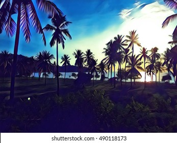 Sunset landscape with coco palm trees. Digital illustration with vibrant blue sky. Seaside view through palm tree silhouette. Palm tree crones and leafs under sunlight. Peaceful paradise image or card