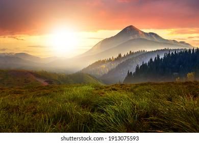 夕焼けの風景と緑の草原、高い峰、岩山の明るい色鮮やかな夕空の下の霧の深い谷。
