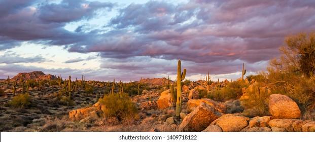 Sunset Landscape Image Of Browns Ranch Desert Preserve In North Scottsdale, Arizona.