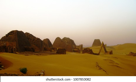 sunset Landscape of Meroe pyramids in the desert in Sudan,