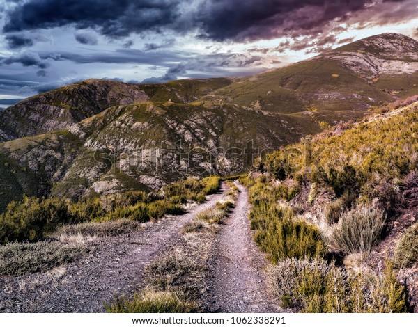 Sunset landscape mountains in Bierzo, Spain