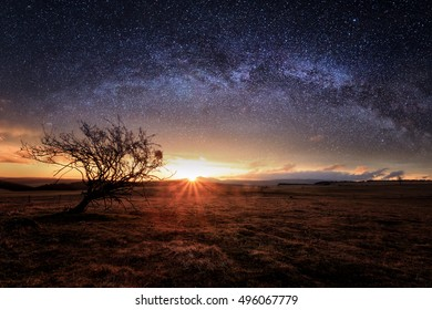 Sunset landscape and the night with milkyway on sky