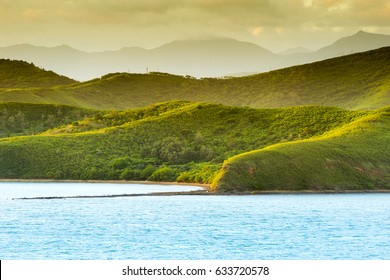 Sunset landscape on the hills around Noumea, New Caledonia