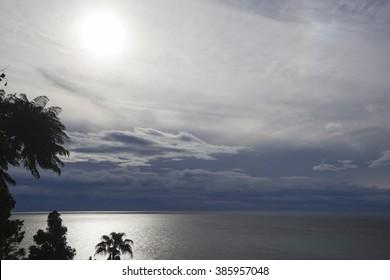 Sunset landscape of the sea of Mediterranean Sea in Altea, Alicante
