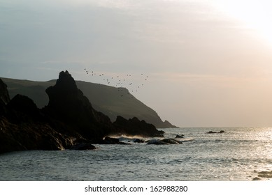 Sunset landscape seascape of rocky coastline at Hope Cove in England