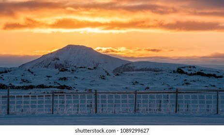 Sunset landscape with snow on north Iceland, winter