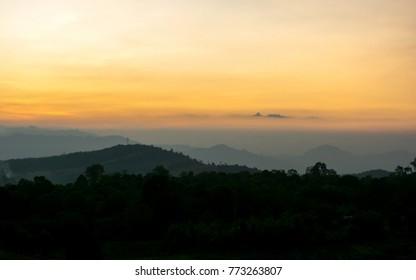 Sunset landscape.Mae Sot.Thailand.
