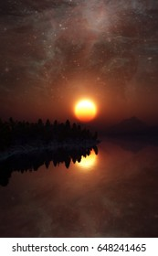 Sunset Landscape under the Milky way. Elements of this image furnished by NASA. 3D Illustration