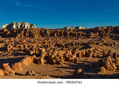 Sunset landscape of the unusual rock formations at Goblin Valley State Park in Utah.