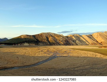 Sunset landscape view with rhyolite volcanic mountains in summertime, Landmannalaugar area, Fjallabak Nature Reserve, Iceland