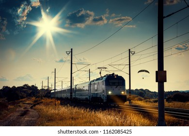 Sunset Landscape with Vintage Locomotive and Train on Railway - Czech Republic, Europe