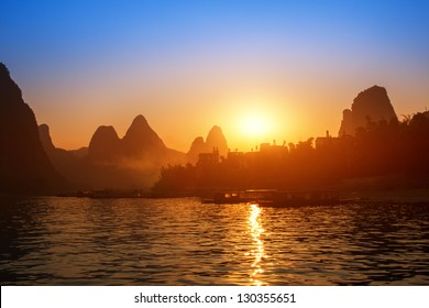 Sunset landscpae of yangshuo in guilin,china (Saved as adobe RGB 1998 color profile river)