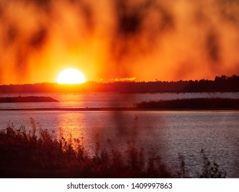 Sunset lanscape of the sea by arctic summer night, Oulu, Finland