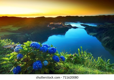 Sunset lanscape from the volcanic crater lake of Sete Citades in Sao Miguel Island of Azores, Portugal, Europe