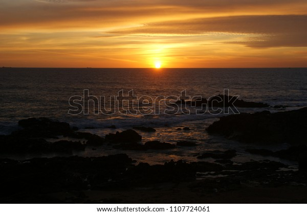 Sunset in Leca da Palmeira beach, Portugal