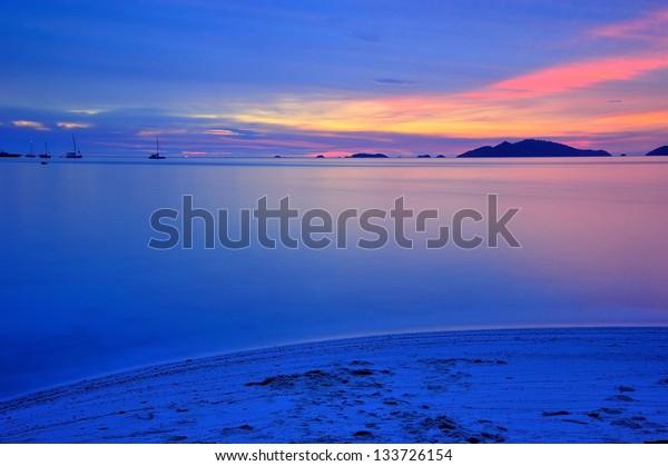Sunset at Li pe Island , Sa tun Thailand