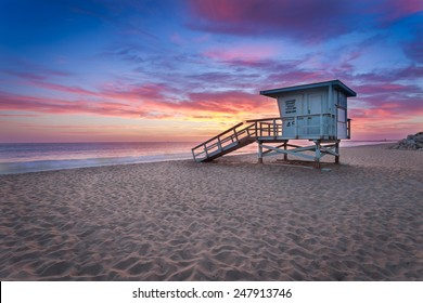 Sunset at a lifeguard tower in Southern California