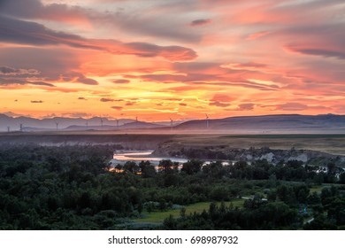 Sunset light above Oldman river near Pincher Creek, Southern Alberta, Canada