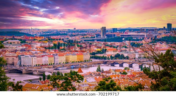 Sunset light in the city of Prague, Czech Republic.  Aerial view with autumn colors.