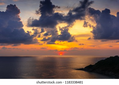 Sunset light with cloudy sky at Promthep cape Puket Thailand.