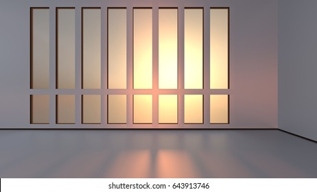 Sunset light in an empty room. 3D rendering