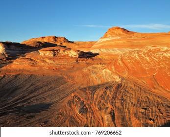 Sunset light hits on beautiful rock at the glen canyon Arizona USA
