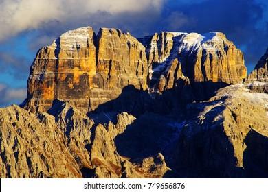 Sunset light on the Dolomites, Italy, Europe