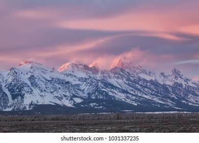 Sunset light on the Grand Teton, Jackson Hole Wyoming.