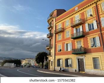 Sunset light on a streetcorner in Nice, France