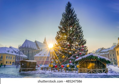 Sunset light over the adorned Christmas tree, in the main center market of Brasov town, in winter season, Romania
