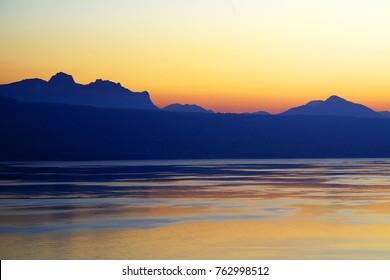 Sunset light over Lake Geneva, Canton of Vaud, Switzerland