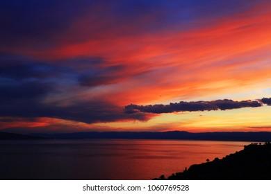 Sunset light over Leman Lake, Geneva, Europe