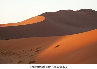 Sunset light over sandy barkhans in the most dry and wild place  all over the world - Namib desert, Namibia.