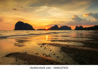 Sunset Light, Pak Meng Beach, Trang Province in Southern Thailand