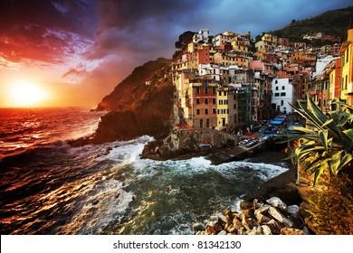 Sunset light in Riomaggiore Village, Cinque Terre, Italy