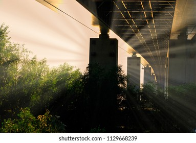 Sunset Light Under The Bridge Vintage Photo Shot With Copyspace