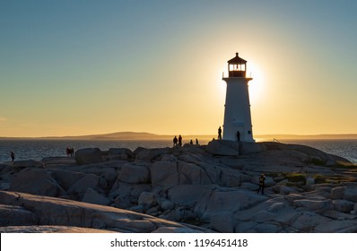 Sunset Lighthouse at Peggy's Cove, Nova Scotia.