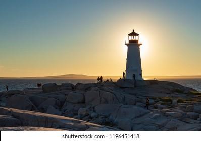 Sunset Lighthouse at Peggy's Cove, Nova Scotia.