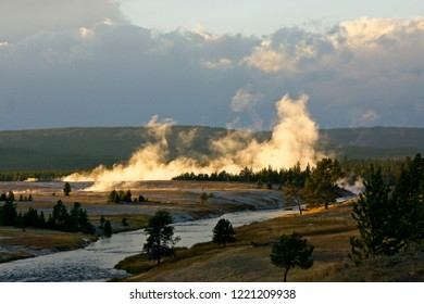 Sunset lighting along the Firehole River n Yellowstone Park