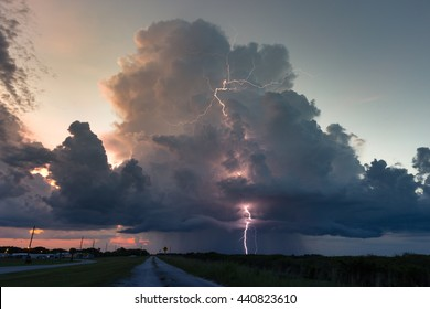Sunset lightning storm over southern Florida during the peak wet season.