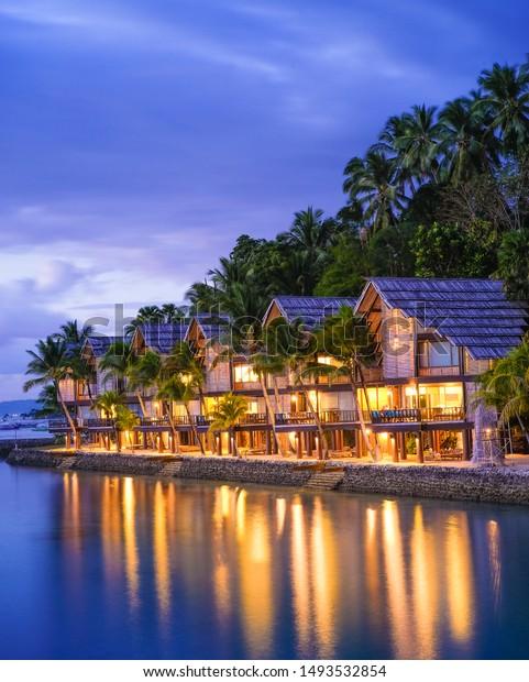Sunset Lights Cottages Samal Island Davao Stock Photo Edit