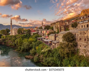 Sunset Lights in Mostar. Bosnia