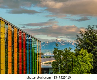 The sunset lights up the pick of Mont Blanc on the top of the French alps viewed from the other side of the Geneva lake Lausanne, Switzerland