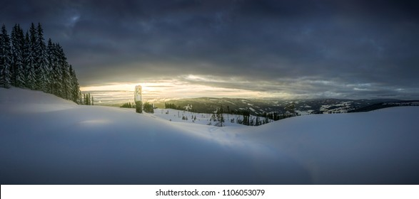 Sunset in lillehammer, Norway. Winter landscape panorama. High resolution, 46 megapixels.