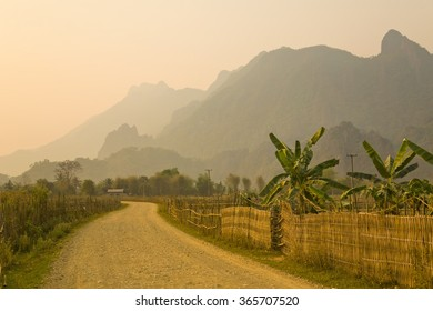Sunset at limestone mountains of Vang Vieng, Laos