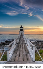 Sunset Lit Walkway to Marshall Point Lighthouse - Port Clyde, Maine, USA