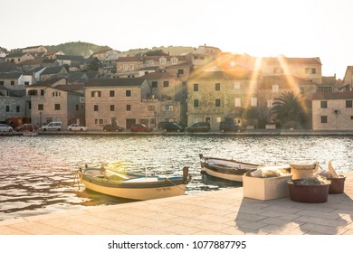 sunset in a little harbour in Croatia