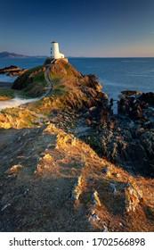 Sunset at Llynddwyn Island Lighthouse in Wales, England