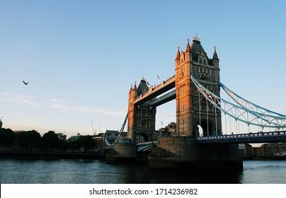 sunset at London Tower Bridge.