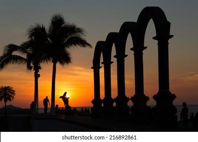 sunset at the Los Arcos Puerto Vallarta